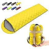 ECOOPRO Camping Sleeping Bag, 3 Season Sleeping Bag for Kids, Teens, Adults Indoor & Outdoor Use - Waterproof, Lightweight, Compact Sleeping Bag Great for Camping, Backpacking Hiking (C-Yellow)