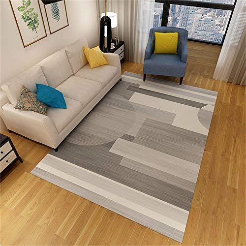 Alfombras dormitorios Juveniles Alfombra de diseño geométrico Gris y Amarillo Antideslizante y fácil de Limpiar Sofa Salon decoración para Dormitorio de bebé 200X300CM