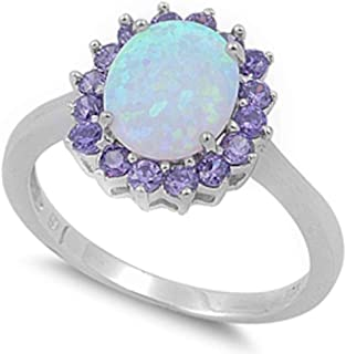 Oxford Diamond Co Lab Created White Opal & Simulated Amethyst .925 Sterling Silver Ring Sizes 4-12