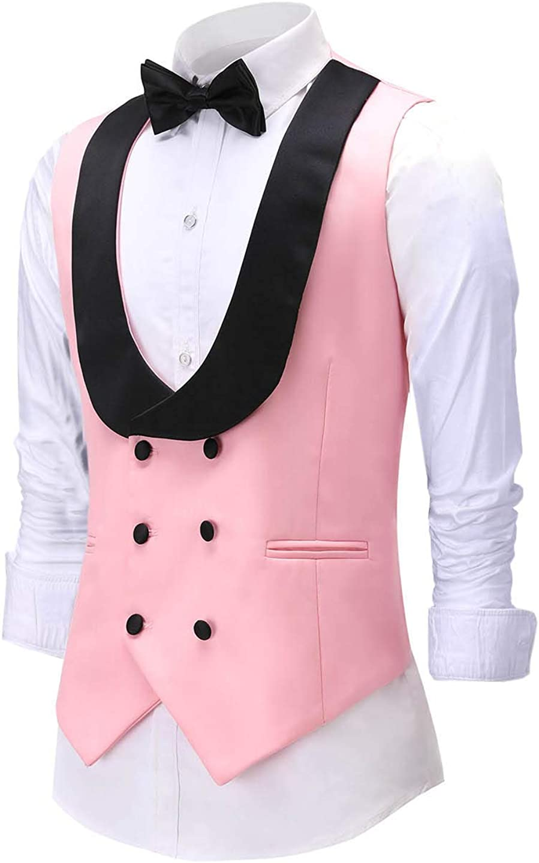 Men's 3 Pieces Suit Formal Slim Fit Notched Lapel Solid Tuxedos Groomman for Wedding(Blazer+Vest+Pants)(Navy,44US)