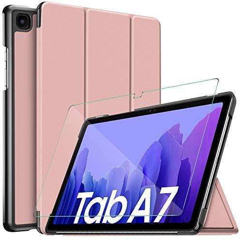 IVSO Hulle Kompatibel mit Samsung Galaxy Tab A7 104 2020Mit Panzerglas Slim Hochwertiges PU Schutzhulle mit Displayschutz fur Samsung Galaxy Tab A7 T505T500T507 104 Zoll 2020 Rosegold