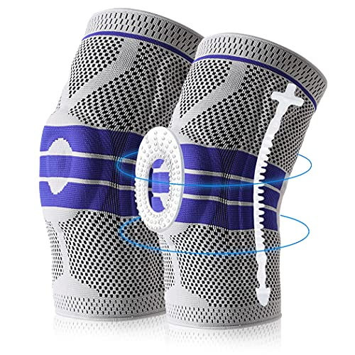 Knee Brace Compression Sleeve, Elastic Knee Wraps Patella Stabilizer with Silicone Gel Spring Support, Hinged Kneepads Protector for Meniscus Tear Arthritis Running Men Women 2 Pack(Medium)