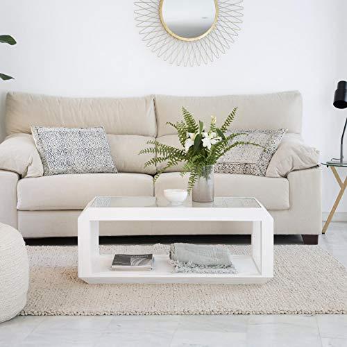 Luka Table Basse 100 Blanc Ivoire - Bois - 100x50x40 cm - Couleur Blanc Ivoire