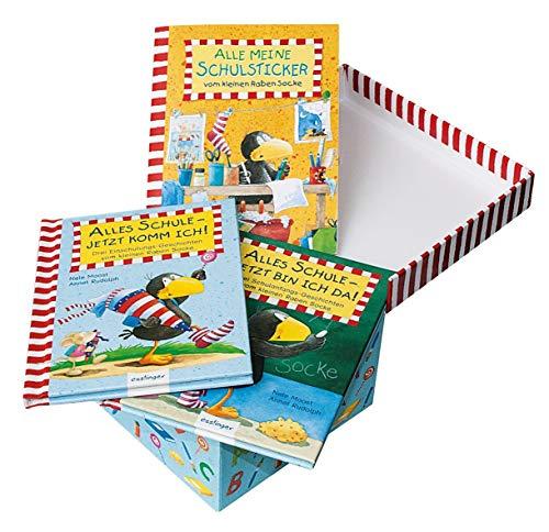Der kleine Rabe Socke: Sockes rabenstarke Schul-Kiste: 2 kleine Vorlesebücher und 1 Schul-Stickerheft in stabiler Schul-Sammelkiste