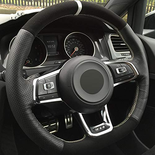 ZYTB FürLenkradbezugSchwarzFür Volkswagen Golf 7 GTI Golf R Mk7 VW Polo GTI Scirocco 2015 2016,Blue Thread
