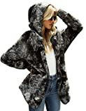 LookbookStore Women's Casual Tie Dye Winter Open Front Hooded Draped Pocket Fleece Cardigan Fuzzy Outerwear Jacket Sherpa Coat Multicoloured Black Size Large