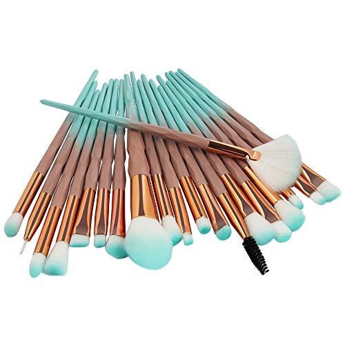 Lot de 20 pinceaux à poudre diamantée pour poudre libre - Outils de maquillage pour une grande couverture - Poudre libre - Poudre bronzante et blush - Outils de nail art