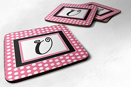 Caroline 's Treasures cj1001-ufc monogram-pink schwarz Polka Punkte Schaumstoff Untersetzer (4Stück), Buchstabe U, 8,9cm H x 8,9cm W, multicolor
