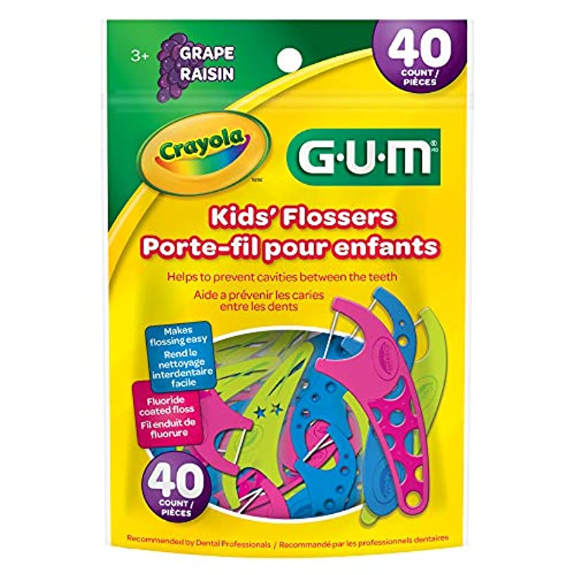 GUM Crayola Kids' Flossers, Grape, Fluoride Coated, Ages 3+, 40 Count