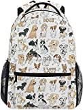 Nigel Tomm Cute Doodle Dog Print Animal Mochila Grande Personalizada Laptop iPad Tablet Travel School Bag