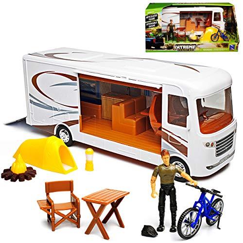 New Ray Riesen Wohnmobile 35 cm mit Zubehör und Vordach 1/18 Modell Auto mit individiuellem Wunschkennzeichen