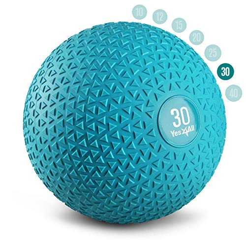Yes4All Slam Balls 30lbs for Strength and Crossfit Workout – Slam Medicine Ball, Trendy Teal...