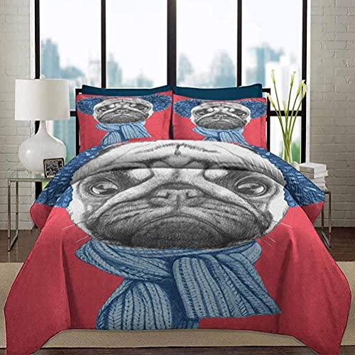 Ropa de cama Juego de funda nórdica Pug Funda suave para ropa de cama Dibujo detallado de perro con bufanda Orejeras sobre fondo de coral oscuro Animal Fun decorativo Juego de ropa de cama de 3 piezas