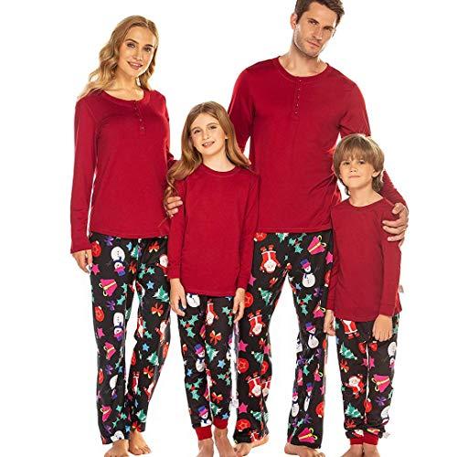 Ekouaer Men's Pjs Short Sleeve Sleepwear Top Flannel Pants Bottom Pajama Set Family Loungewear