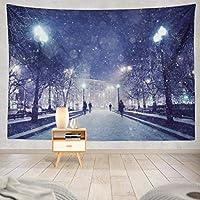 Bigleader 冬のタペストリー、壁に取り付けられた冬の夜の風景家の壁の装飾 アートタペストリー 150cm x 100cm