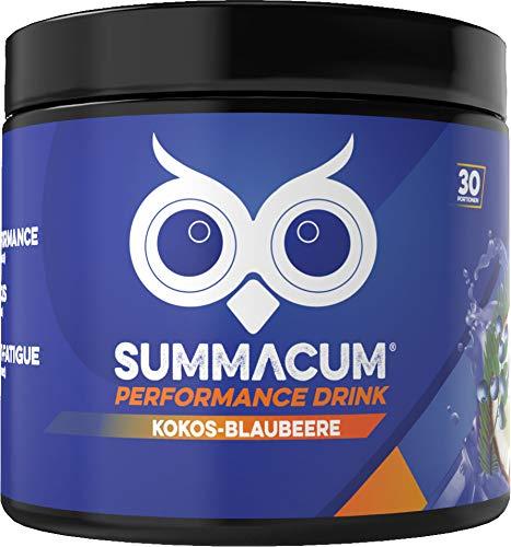 SUMMACUM Konzentrationsbooster mit 200mg Koffein. 30 Portionen Kokos Blaubeere. Mit Acetyl-L-Carnitin, CDP-Cholin-Cognizin und grünem Tee