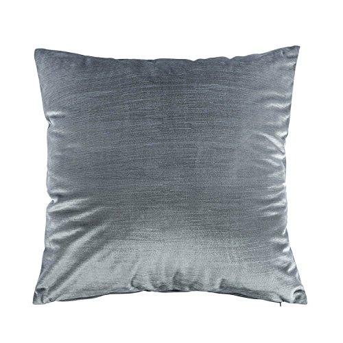 Homescapes Samt Kissen Bezug Quadrat grau Zierkissen für Sofa oder Bett 60 x 60 cm