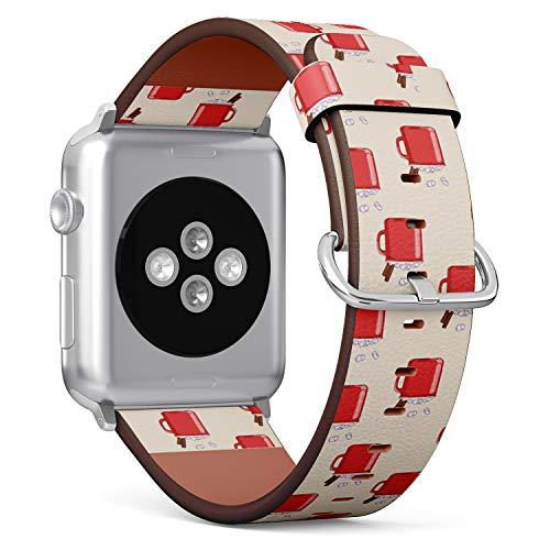 Compatibile con Apple Watch da 38 mm e 40 mm, cinturino in pelle con chiusura in acciaio inox e adattatori (tazza di cacao rosso).
