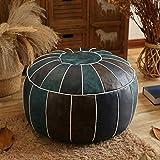 Chair cushion Leder Marokkanischer Pouf,Handmade Gefüllte Bestickt Hocker Hocker Wohnkultur Runde Boden Kissen Für Wohnzimmer Café-blau 60x60x30cm(24x24x12inch)