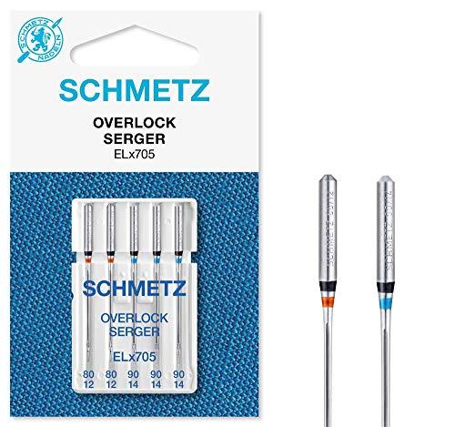 SCHMETZ Nähmaschinennadeln 5 Overlock-Nadeln | Nadelsysteme ELx705 und SY 2022 | Nadeldicke: 2X 80/12 und 3X 90/14