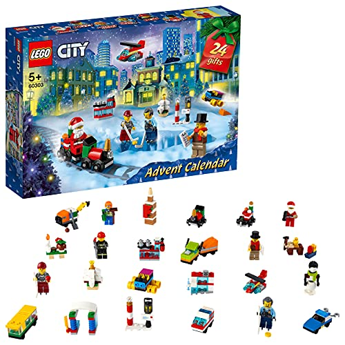 LEGO 60303 City Calendrier de l'Avent Jouet 2021, Mini-Jouets à Collectionner, Enfants dès 5 Ans, avec Tapis et Minifigures