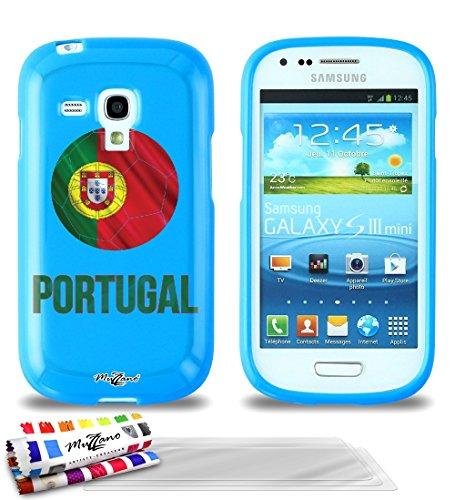 MUZZANO f101916Casperia Originale Cover Ultra Sottile e Flessibile con Motivo Calcio Portogallo per Samsung Galaxy S3Mini (i8190) + 3pellicole di Protezione per Lo Schermo UltraClear Blu