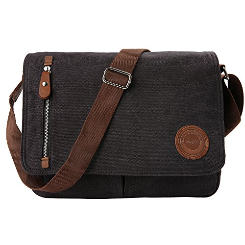 Umhängetasche Herren Arbeitstaschen für Herren Damen Schultasche Messenger Bag Laptoptasche für Arbeit Büro 13.3'' Laptop iPad Uni Reise (Schwarz)