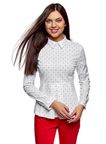 oodji Ultra Damen Bluse mit Schößchen, Weiß, DE 40 / EU 42 / L