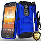 Moto E5 Plus Case, Motorola Moto E5 Supra Case, with [Tempered Glass Screen Protector] Full Cover Heavy Duty Dual Layers Phone Cover with Kickstand and Locking Belt Clip Holster-Blue