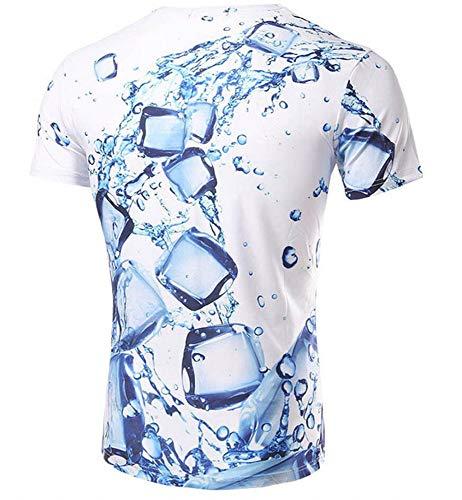 WTZFHF Mode 3D korte mouwen T-shirt korte mouwen prints paar 3D-bedrukt T-shirt met druipende ijsblokjes los T-shirt trui ronde hals T-shirt unisex XX-Large