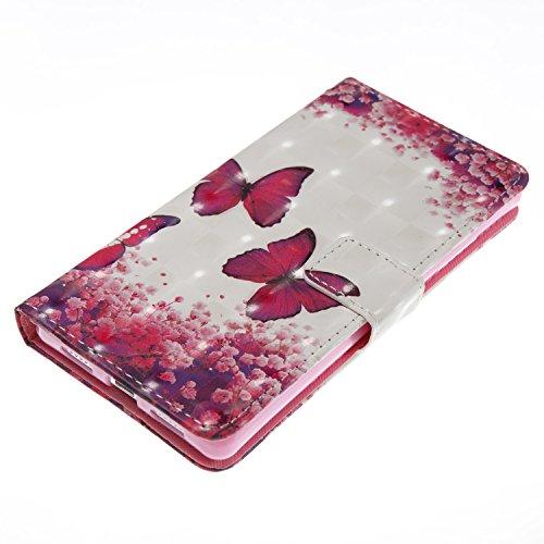 ZCRO Handytasche für Huawei P8 Lite 2015/2016, Leder Schutzhülle Brieftasche Hülle Flip Case 3D Muster Cover mit Kartenfach Magnet Tasche Handyhüllen für Huawei P8 Lite 2015/2016(Schmetterling Blume) - 6