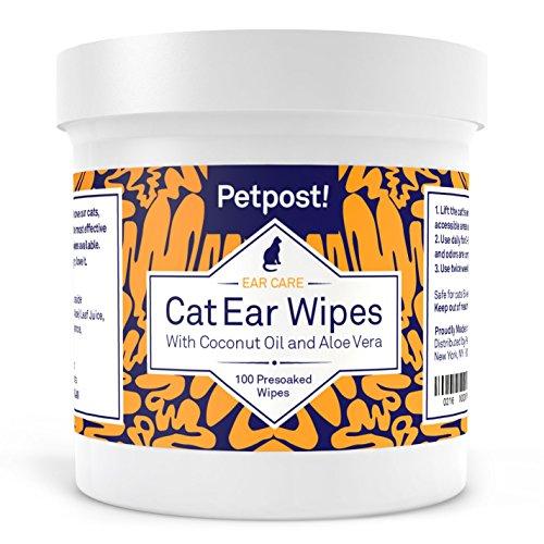 Petpost | Ohrenreiniger für Katzen - 100 Ultra-Weiche Wattetücher getränkt in Kokosnussöl - Pflege bei Ohrmilben & Ohrinfektionen