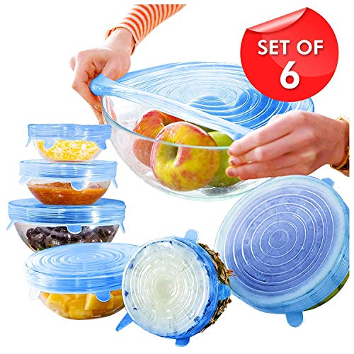 KV Mart Stretch Silicone Lids Reusable Washable Flexible Covers for Rectangle Round Square - Bowls Dishes Plates Cans Jars Glassware and Mugs Cover (Transparent, Set of 6)