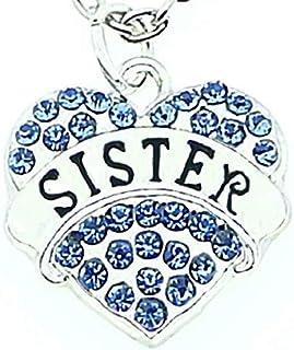 Legisdream Colgante de corazón de Collar de Hermanas y Hermanos con Escritura de Hermana con pedrería Azul Strass Sister