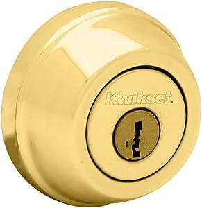 Kwikset 780 Single Cylinder Deadbolt featuring SmartKey in Polished Brass