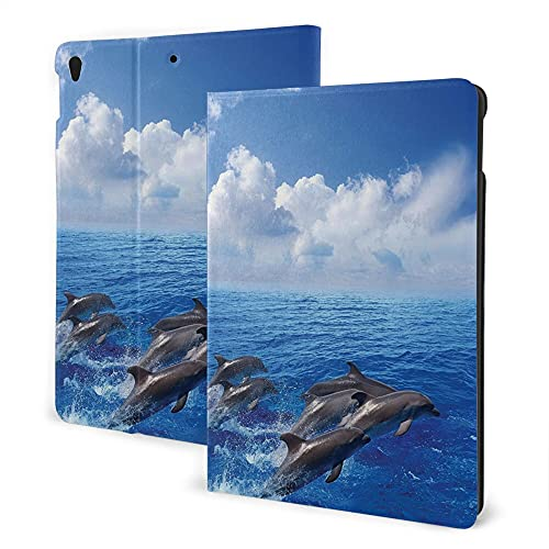 Case For Ipad 8/7 (2020/2019 Model, 8th / 7th Generation), Ipad Air3 & Pro 10.5in Print Theme - Sea Animals Decor Dolphins Jumping In Clear Sea And Fluffy Clouds In The Sky Life Photograph Blue White
