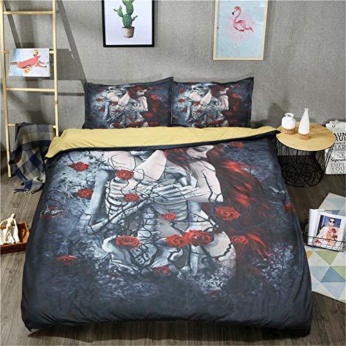 Choicehot Bettwäsche-Set, 3-teilig, Gothic-Kunst, Halloween-Themen, weiches Bettwäsche-Set für Doppelbett 200 x 200 cm (1 x Bettbezug-Set, 2 x Kissenbezüge), Polyester, Farbe A, 87