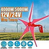 Turbina eólica Generador de Energía 4000W / 5000W 12V 24V Generador eólica Energía Eólica Turbinas 5 aspa de Molino de Carga Libre Regulador Gift Set (Color : Red, Size : 24v)