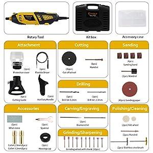 Amoladora eléctrica, Ginour 170W con 109 accesorios, Mini Amoladora 7 Velocidad Variable Kit de herramientas, Herramienta Rotativa, Multiherramienta para cortar/lijar/grabar/limpiar/pulir