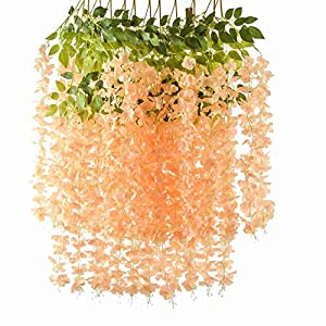 Romase 12 Pack 3.6 Feet/Piece Artificial Wisteria Vine Ratta Fake Wisteria Hanging Garland Silk Long Hanging Bush Flowers String Wedding Home Party Decor
