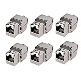 Cable Matters UL Listed 6-Pack RJ45 Shielded Cat6A Keystone Jack with Integrated Shutter