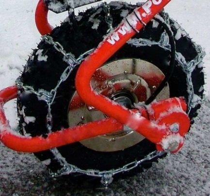 POWERPAC Schneekette passend für ED120 oder ES230 - AKKUSCHUBKARRE ELEKTROSCHUBKARRE AKKUSCHNEERÄUMER AKKUSCHNEESCHIEBER SCHUBKARRE DUMPER MOTORSCHUBKARRE