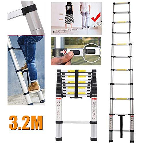 Telescopische ladder, 3,2 m, van aluminium, om zelf te maken, opvouwbaar, compact, uittrekbaar, ladder, 150 kg, max. Belasting.