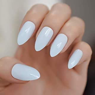 CoolNail Light Blue Stiletto Press on False Nail Soft Blue UV Gel Acrylic Full Cover Pointed Fake Nails Free Glue Tapes Sticker