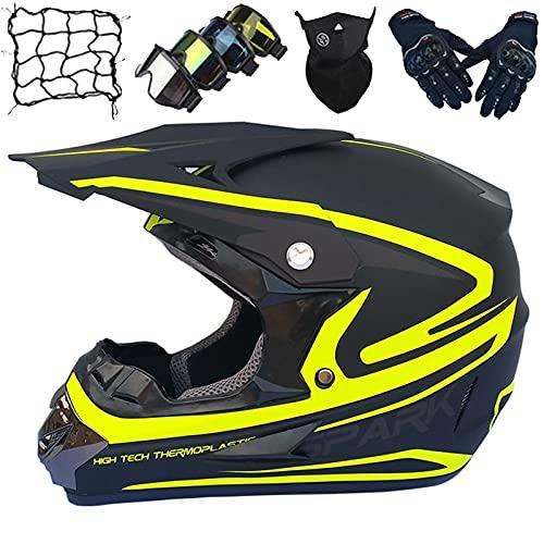 Juego Cascos Motocross Niños, Casco Moto Cara Completa con Gafas/Guantes/Máscara/Red Elástica, Casco Choque para Motocicleta Adultos para Enduro Descenso Bicicleta de Tierra MTB - Amarillo
