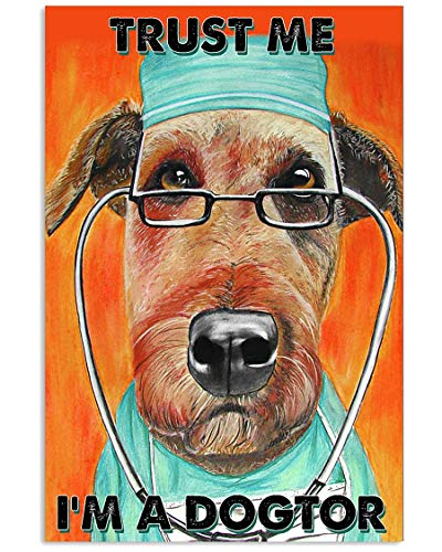 AMD PRINT Veterinarian Poster Veterinary Trust Me I Am A Dogtor Vintage Wall Art Hanging Painting Paper Photography Watercolor Living Classroom Home Decor No Frame