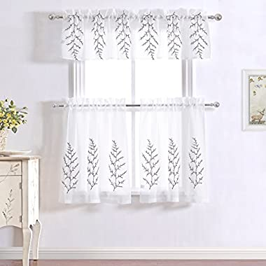 DWCN Floral Embroidered White 3 Pieces Sheer Kitchen Cafe Curtains Tiers and Valance Set Embroidery Design Rod Pocket