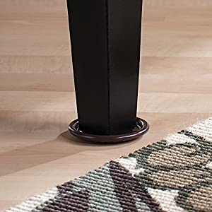 """Furniture Caster Cups with Carpeted Bottoms for Hard Floor Surfaces – Protect your Hard Floor Surfaces from Scratches and Marring, 4"""" Round Furniture Protectors, Brown (4 Pieces)"""