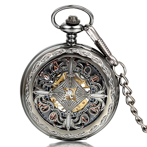 JewelryWe Hunter-case Pocket Fob Watch Mechanical Black Dial Celtic Knot Hollow
