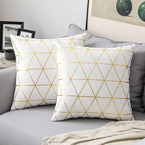 MIULEE Velvet Cushion Cover Gilded Throw Pillow Covers with Gold Lines Triangle Pattern Square Decorative Soft Home for Sofa Living Room Bedroom Offwhite 18 x 18 Inch 45 x 45 cm Pack of 2